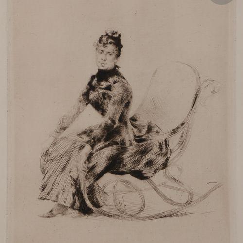 Norbert GOENEUTTE (1854 1894)  Rocking Chair (Bertha Lucas), vers 1887  Pointe s…