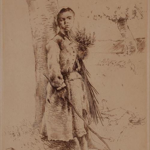 Norbert GOENEUTTE (1854 1894)  La Trouille (paysanne appuyée sur un arbre, une b…