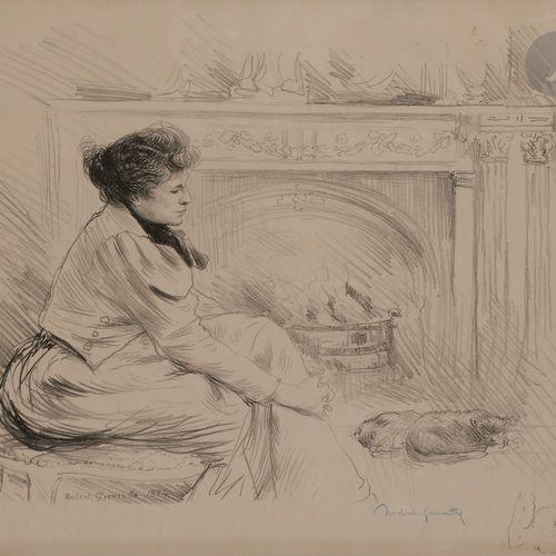 Norbert GOENEUTTE (1854 1894)  Au coin du feu (femme au coin du feu avec des cha…