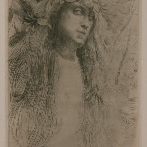Norbert GOENEUTTE (1854 1894)  Ophélie, 1882  Pointe sèche.  290 x 185 mm.  (Duv…