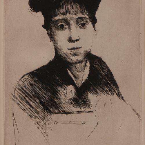 Norbert GOENEUTTE (1854 1894)  Jeune femme de face en buste, avant 1888  Pointe …