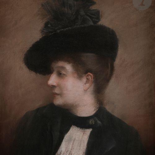 Norbert GOENEUTTE (1854 1894) (attribué à)  Femme au chapeau noir  Pastel sur vé…