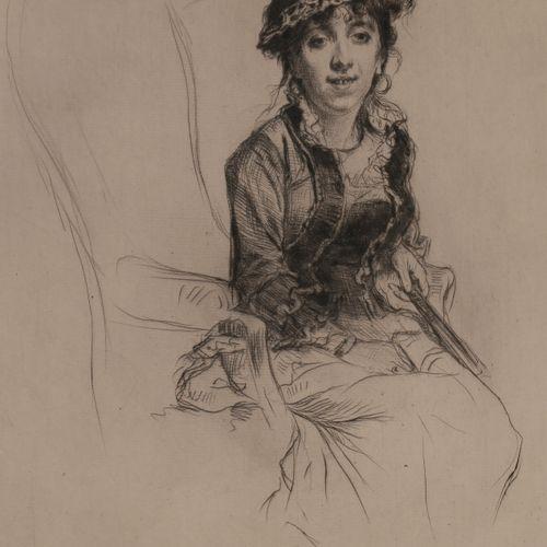 Norbert GOENEUTTE (1854 1894)  Femme à l'éventail  Pointe sèche.  360 x 230 mm. …
