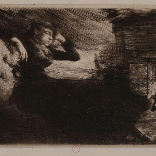 Norbert GOENEUTTE (1854 1894)  Somnolence au coin du feu, avant 1888  Eau forte …