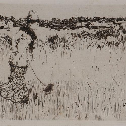Norbert GOENEUTTE (1854 1894)  Femme dans la campagne parisienne, 1877  Eau fort…