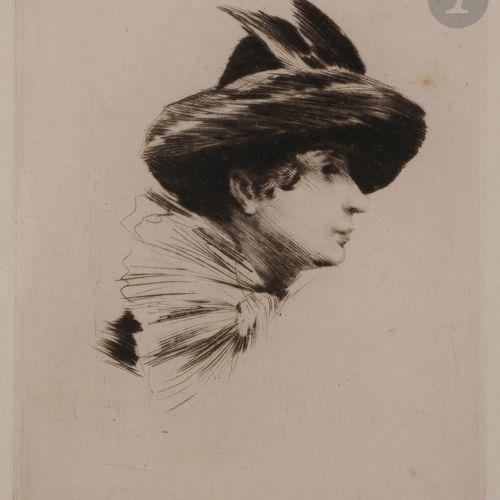 Norbert GOENEUTTE (1854 1894)  Anna Goeneutte au chapeau et à l'écharpe, avant 1…