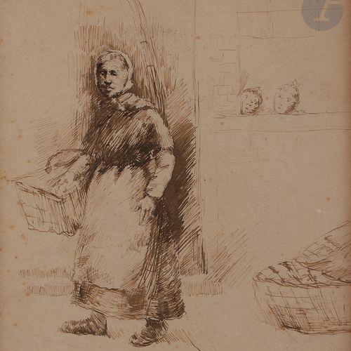 Norbert GOENEUTTE (1854 1894)  La Vannière  Dessin. Plume et encre sépia sur vél…