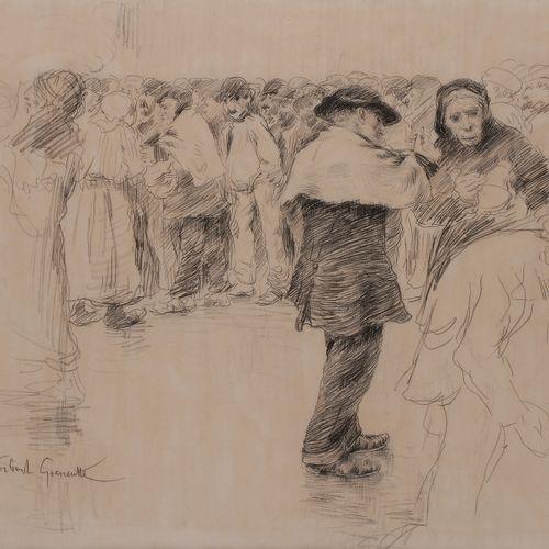 Norbert GOENEUTTE (1854 1894)  La Soupe du matin, 1881  Dessin à la mine de plom…