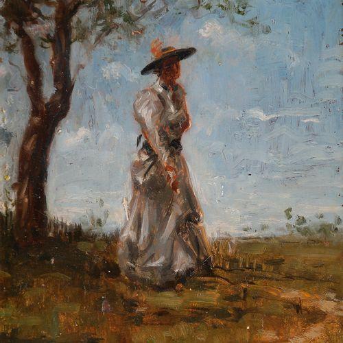 Norbert GOENEUTTE (1854 1894)  Élégante dans la campagne  Huile sur panneau.  Si…