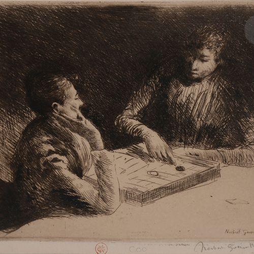 Norbert GOENEUTTE (1854 1894)  La Partie de dames, après 1888  Eau forte.  165 x…