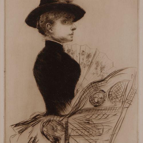 Norbert GOENEUTTE (1854 1894)  Femme à l'éventail déplié, 1884  Pointe sèche.  3…