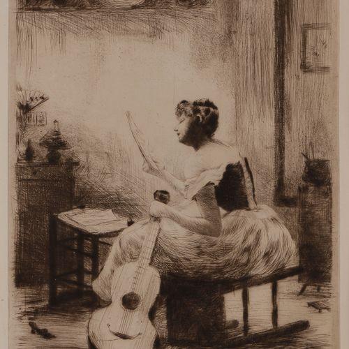 Norbert GOENEUTTE (1854 1894)  L'Étude de la musique, vers 1885  Pointe sèche.  …