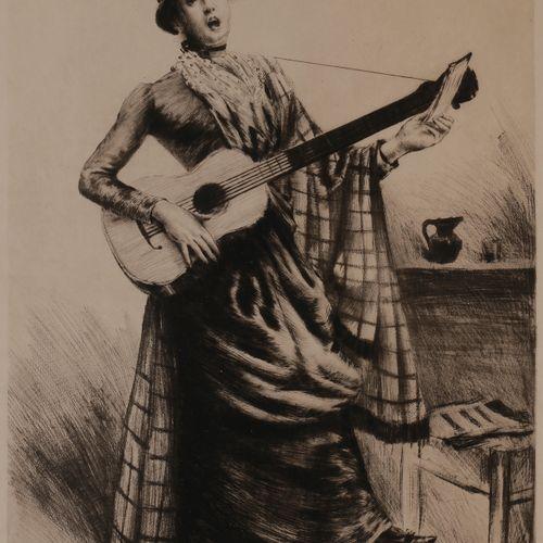 Norbert GOENEUTTE (1854 1894)  La Cigale (chanteuse ambulante, Paris), 1885  Poi…