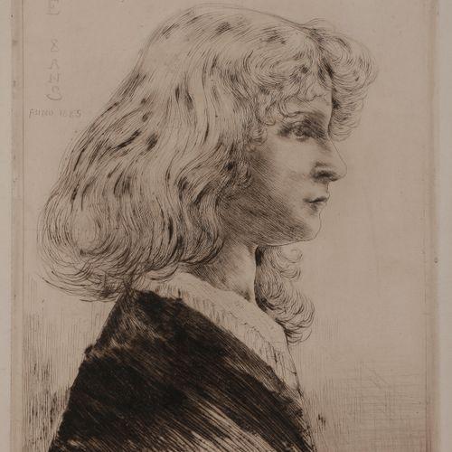 Norbert GOENEUTTE (1854 1894)  Jane – huit ans, 1885  Pointe sèche.  340 x 250 m…