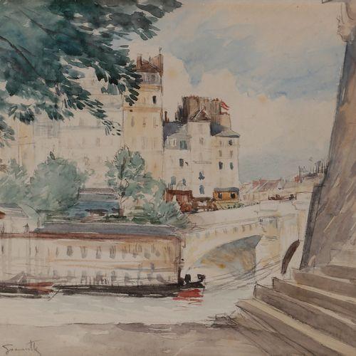 Norbert GOENEUTTE (1854 1894)  Paris, vue sur le Pont Neuf  Aquarelle sur vélin.…