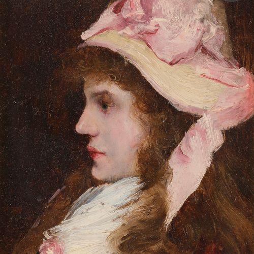Norbert GOENEUTTE (1854 1894)  Jeune fille au chapeau rose  Huile sur panneau.  …