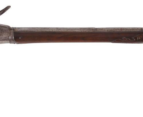 Rare et belle carabine à silex système Lorenzoni à répétition. Canon rond à pans…
