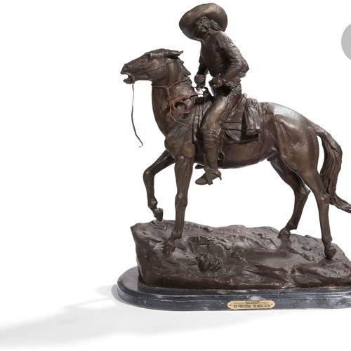 Fréderic REMINGTON, d'après. The Scout Grand sujet en bronze patiné marqué sur l…