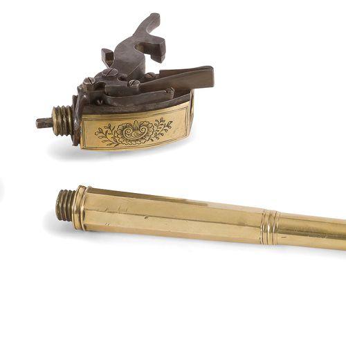 Intéressant et grand pistolet à vent, calibre 10 mm env., tout bronze. Long cano…