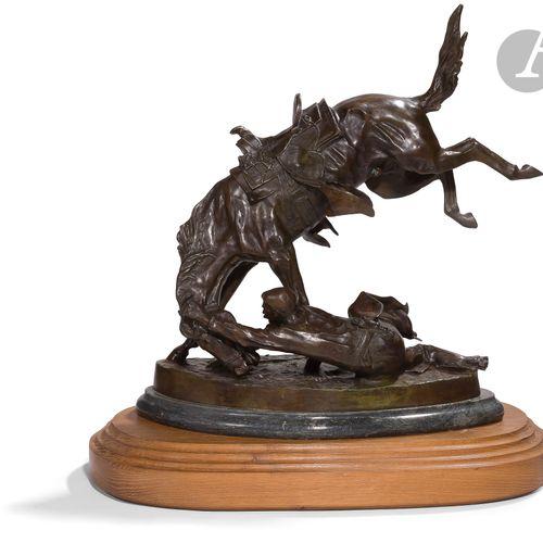 Fréderic REMINGTON, d'après. Cowboy rattrapant sa monture Grand sujet en bronze …