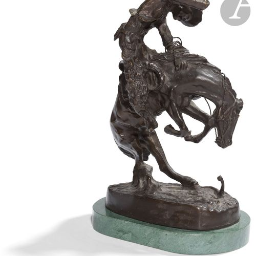 Fréderic REMINGTON, d'après. The rattle snake Sujet en bronze patiné marqué sur …