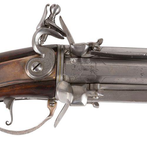 Raro e interessante fucile a quattro colpi a pietra focaia con canna tornita a m…