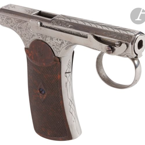 Pistolet de poche à réarmement manuel « Brun Latrige » à percussion centrale, 10…