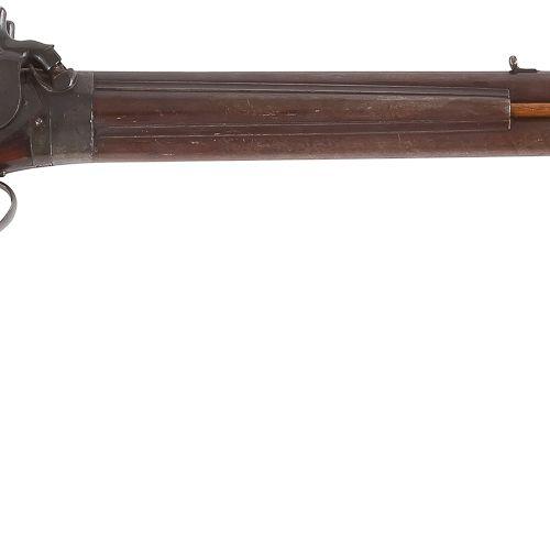 Carabine de chasse à percussion, deux coups, calibre 38 et 14 mm environ. Canons…