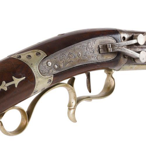 Rare et beau fusil des plaines type Kentucky à système à percussion, 4 coups, ca…