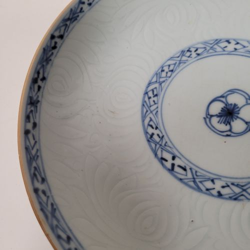 Two porcelain plates with blue white decoration, Compagnie des Indes, 18th centu…
