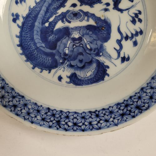 Blue and white porcelain plate, China, 18th centuryCentral decoration of a drago…