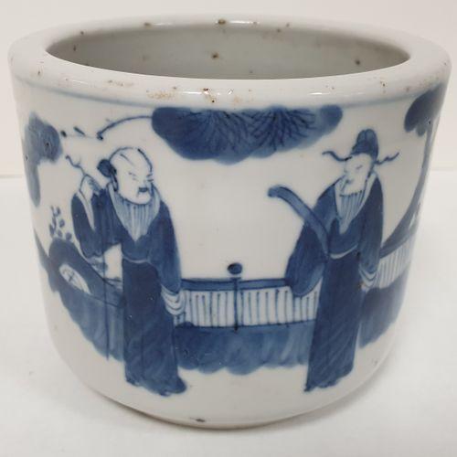 Petit porte pinceaux, Chine, XIXe siècle De forme cylindrique en porcelaine à dé…