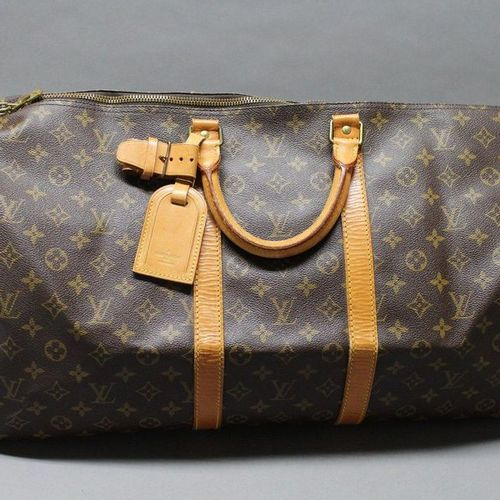 """Louis VUITTON  55cm """"Keepall"""" bag in Monogram canvas and natural leather, double…"""