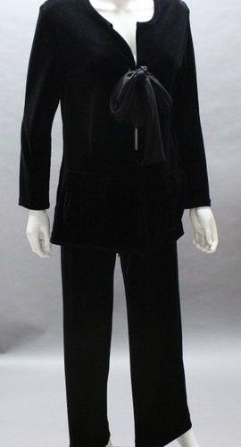 Sonia RYKIEL  Evening set in black cotton velvet composed of a jacket, round nec…