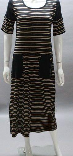 Sonia RYKIEL  Long dress in black cotton marinière, nude, round neckline, two pa…
