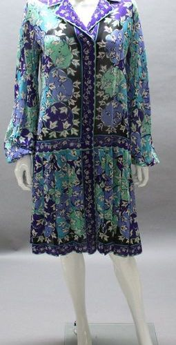 Emilio PUCCI  Dress in silk crepe printed with a multicolored floral pattern, no…