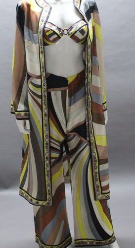 Emilio PUCCI  Three piece set in printed silk with multicoloured psychedelic mot…