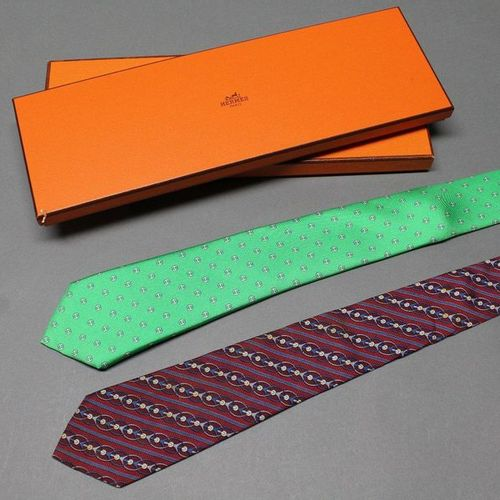 HERMES Paris made in France  Set of two silk twill ties printed with various pat…
