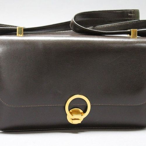 """HERMES Paris made in France  26cm """"Ring"""" bag in ebony box, gold plated clasp on …"""