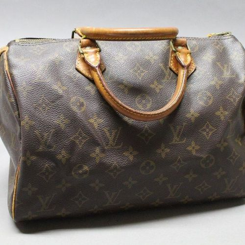 """Louis VUITTON  Bag """"Speedy"""" 30cm in Monogram canvas and natural leather, zipper,…"""