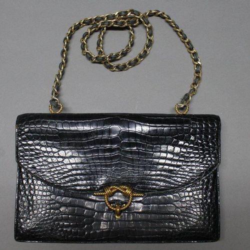 "HERMES Paris  27cm ""Cordelière"" bag in black Porosus Crocodylus, gold plated cla…"