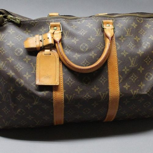 """Louis VUITTON  50cm """"Keepall"""" bag in Monogram canvas and natural leather, double…"""