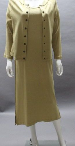 Sonia RYKIEL  Sandy knit outfit made up of a long dress, small sleeves and a sin…