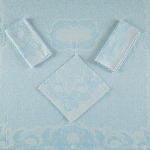 SMALL RECTANGULAR NAPPING AND ITS 6 SERVETTES in blue cotton damask reversible C…