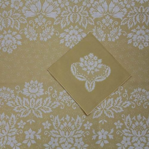 Oval tablecloth and its 8 SERVETTES with a lively edge in modern cotton damask w…