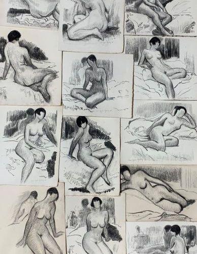 Henri André MARTIN (1918 2004) Onze nus bruns aux cheveux longs 1996 Fusains Sig…