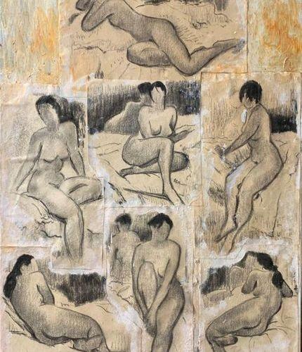 Henri André MARTIN (1918 2004) Sept nus 1996 Fusain ou pierre noire sur papier m…
