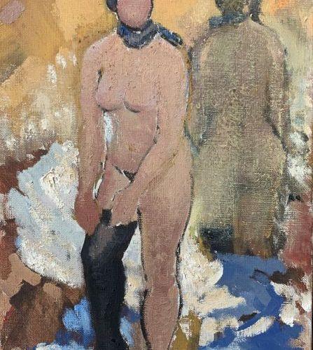 Henri André MARTIN (1918 2004) Nu au bas noir et miroir Toile Signée en bas à dr…