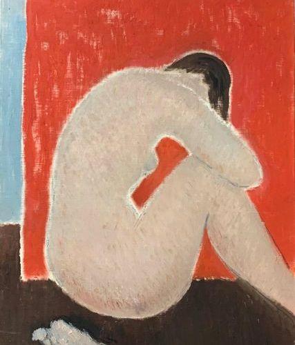 Henri André MARTIN (1918 2004) Nu brun assis Toile rouge Toile Signée en bas à d…