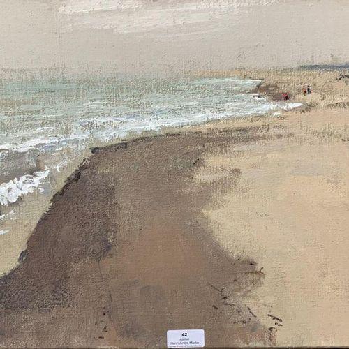 Henri André MARTIN (1918 2004) Plage à marée basse Toile Cachet de la signature …